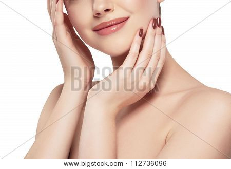 Beautiful Woman Part Of The Face Chin Lips And Shoulders Close Up Portrait Studio Isolated On White
