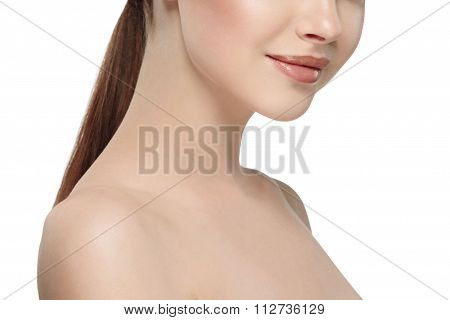 Woman's Beautiful Part Of The Face Nose Lips Chin And Shoulders, Healthy Skin And Her On A Back