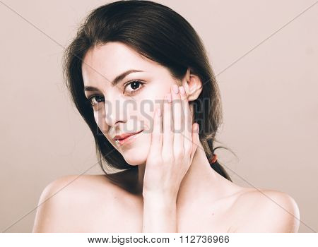 Beautiful Young Woman Portrait Cute Tender Pure Smiling  Touching Her Face Attractive Nature Backgro