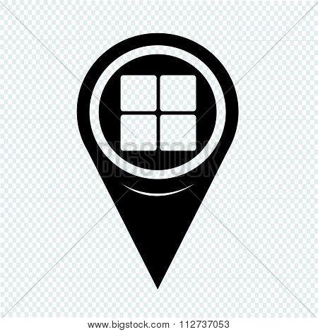 Map Pin Pointer Menu Icon