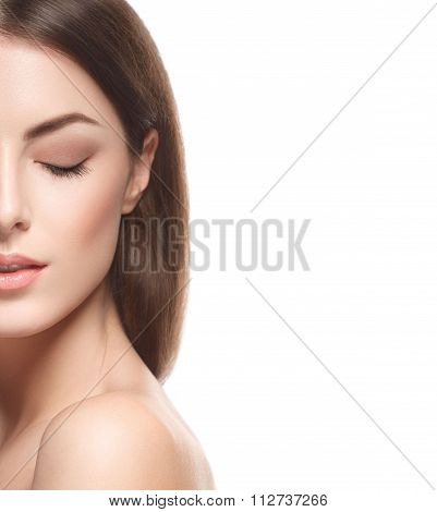 Beautiful Woman Portrait Half-face Close Up Touching Her Face By Fingers Isolated On White