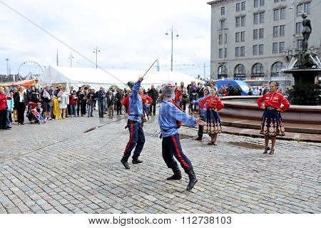 Russian Cossack Sabre Dance On The Market Square At The Celebration Of The Day Of Russia In Helsinki