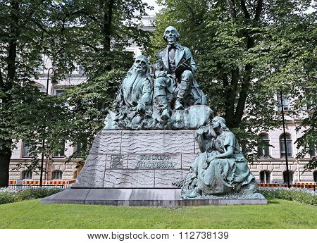 Monument Elias Lennrot, The Collector Of Folk Poetry And Publisher Of Kalevala