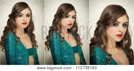 Hairstyle and Make up - beautiful female art portrait with beautiful eyes. Elegance