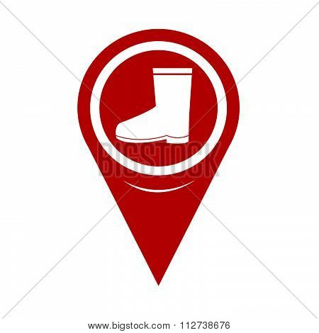 Map Pin Pointer Boot Icon