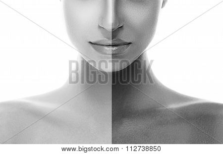 Woman Half Face Tan. Nose Chin And Shoulders. Beautiful Portrait Black And White