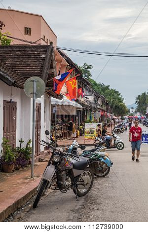 Luang Prabang, Laos - Circa August 2015: Tourists On The Streets Of Luang Prabang,  Laos