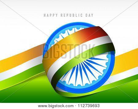 3D Ashoka Wheel with glossy tricolour ribbon for Happy Indian Republic Day celebration.