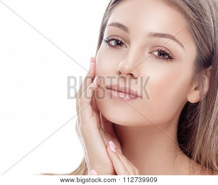 Beautiful Woman Face Studio On White With Sexy Lips