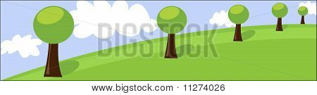 Landscape header with trees and clouds