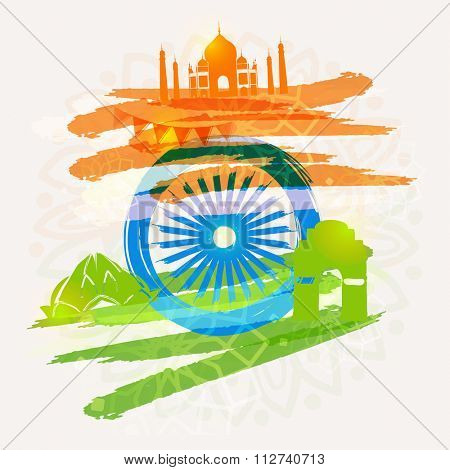 Creative Historical Monuments made by saffron and green colours paint stroke with Ashoka Wheel for Happy Indian Republic Day celebration.