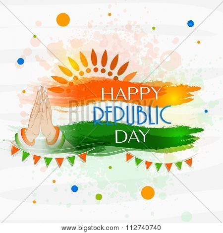 Happy Republic Day celebration concept with glossy tricolors paint stroke and women's hand in Indian greeting (Namaste) pose.