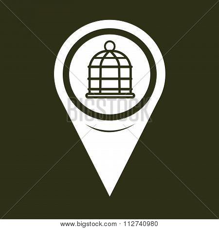 Map Pin Pointer Bird Cage Icon