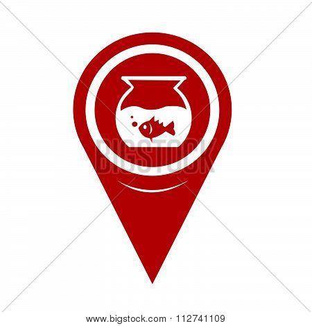 Map Pin Pointer Fish Bowl Icon