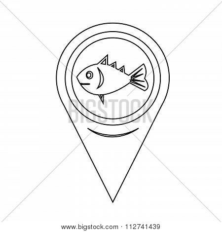 Map Pin Pointer Fish Icon