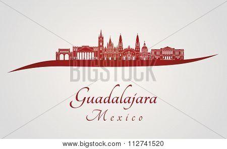 Guadalajara Skyline In Red