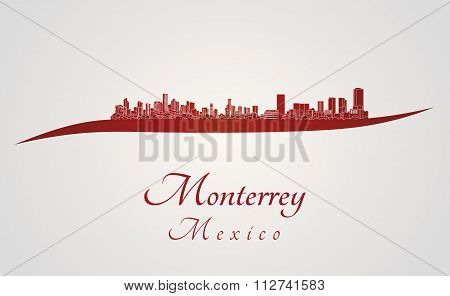 Monterrey Skyline In Red