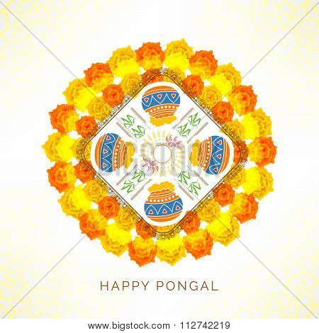 Creative colourful rangoli with mud pots and flowers for South Indian harvesting festival, Happy Pongal celebration.