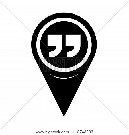 Map Pin Pointer Quotation Mark Symbol Icon