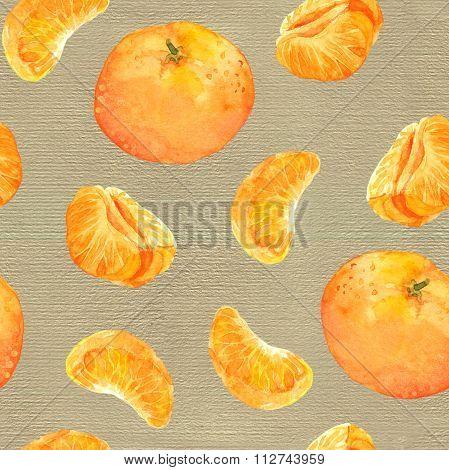 Seamless background with mandarin orange fruits