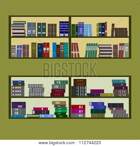 Bookshelf Flat Design