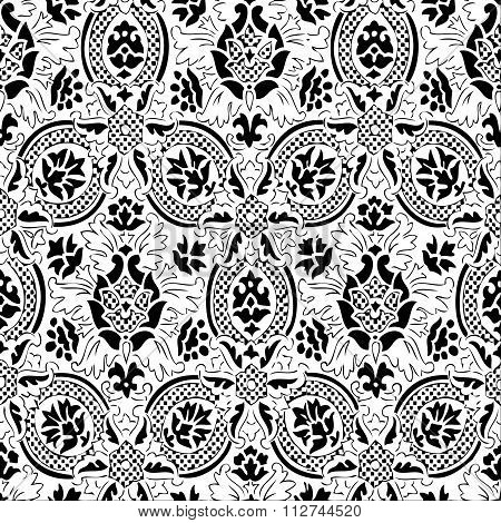 White and black Seamless abstract  floral pattern vintage