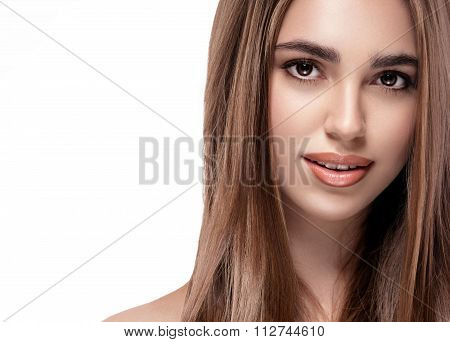Beautiful Woman. Young Woman Portrait With Healthful Curly Hair On Her Breast. Studio Face Portrait.