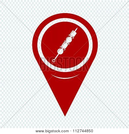 Map Pin Pointer Shish Kebab Skewers Icon