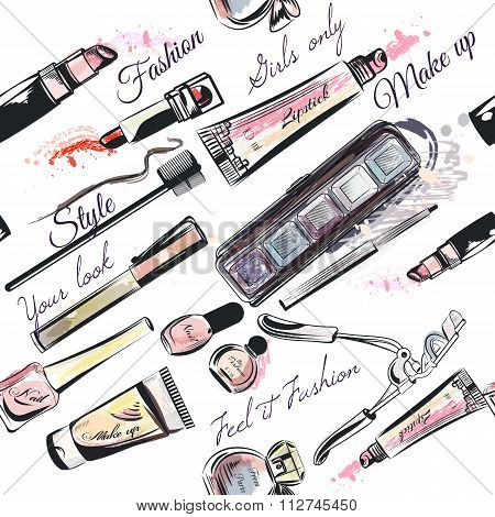 Vector Seamless Pattern From Cosmetics In Watercolor Style