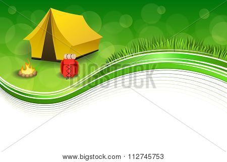 Background abstract green grass camping tourism yellow tent red backpack bonfire frame illustration