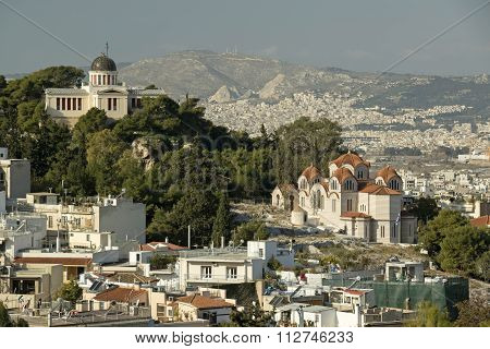 Greek National Observatory And Saint Marina Church, Athens