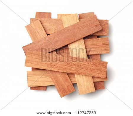 Wood Parquet Pieces on White Background