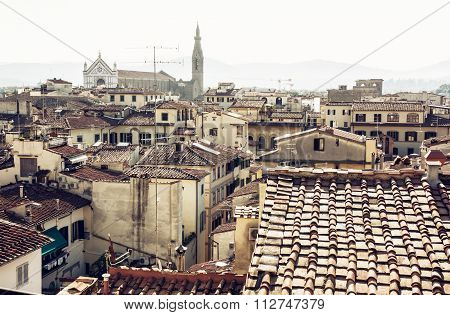 Florence Cityscape With Basilica Of Santa Croce, Italy, Travel Destination