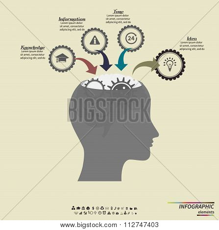 Infographic template. Human head with gears. Head thinking. Vector EPS10.