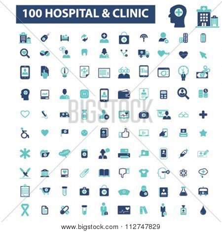 hospital, clinic, medicine  icons, signs vector concept set for infographics, mobile, website, application