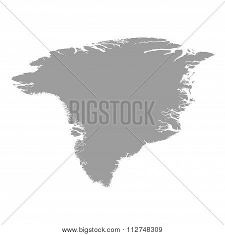 Greenland Map Grey Colored On A White Background