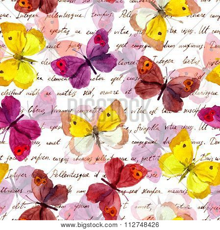 Butterflies and hand writing letter text. Watercolor. Seamless pattern