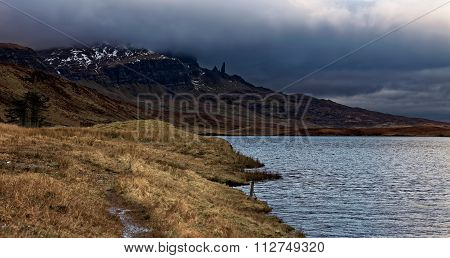 Distant view of Old Man of Storr