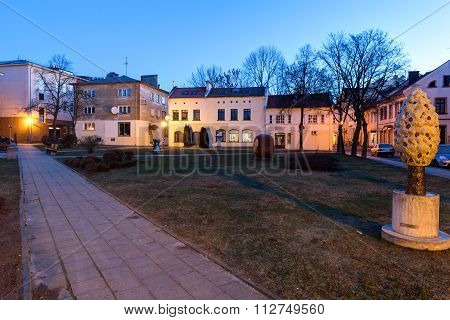 Public garden in the Old Town of Klaipeda City. Lithuania.
