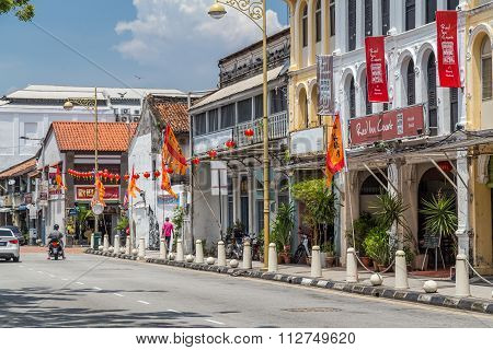 Georgetown, Penang/malaysia - Circa October 2015: Streets Of Old Chinatown In Georgetown, Penang,  M