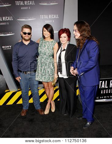 LOS ANGELES, CALIFORNIA - August 1, 2012. Ozzy Osbourne, Sharon Osbourne and Jack Osbourne at the Los Angeles premiere of