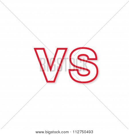 Logo Vs Red Color With Shadow Stylish