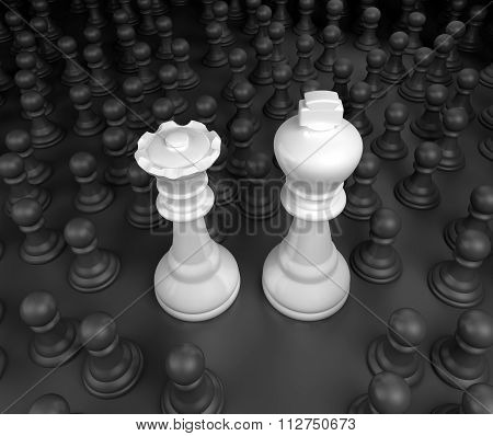 King and Queen surrounded by black pawns
