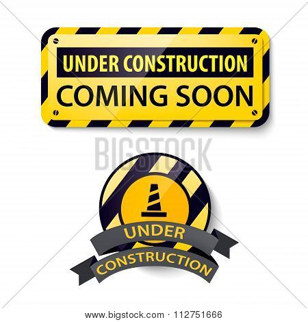 Vector set of 3d shiny Under Construction and Coming Soon banners, frames,badge, boards