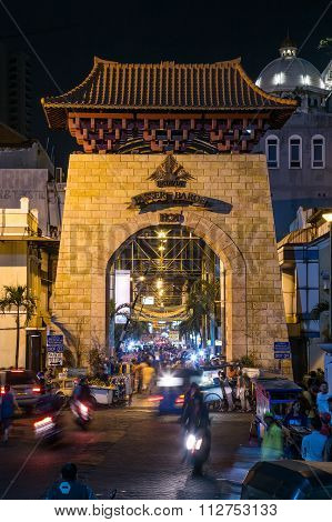 Jakarta, Indonesia - Circa October 2015: Entrance To Passer Baroe Night Market In  Jakarta