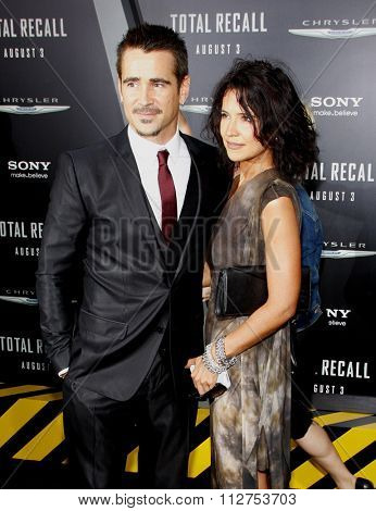 LOS ANGELES, CALIFORNIA - August 1, 2012. Colin Farrell and Claudine Farrell at the Los Angeles premiere of