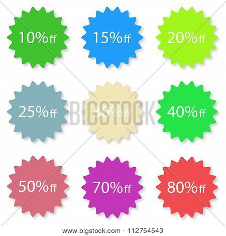 Percentage Off Sale Labels Different Color Stylish