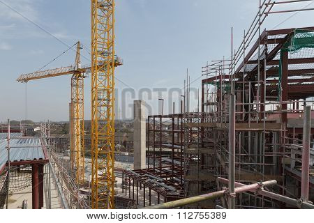 Apri 2015 - Dorchester, England: A Construction Site With Concrete Slabs Built, Steel Framing And Sc