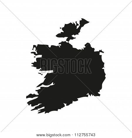 Silhouette Map Of Ireland In Black On A White Background