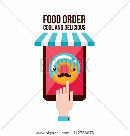 Online Food Order App Person Choosing Donut Menu Flat Design